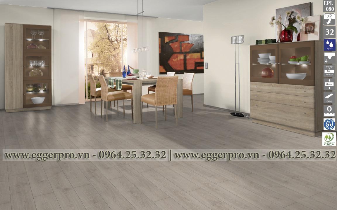 sàn gỗ công nghiệp egger EPL080 LIGHT NORTH OAK